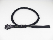 Vodítko černé s gumou, karabina Kong Frog 45/250