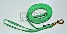 Vodítko pogumované zelené s uchem- mosazná karabina - 4m/20mm