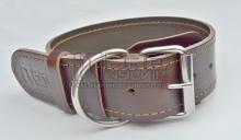 Obojek kožený přírodní s prošitím tmavý - šířě 4cm/délka 40-60cm