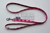 Vodítko růžové tlapička 15mm/135cm